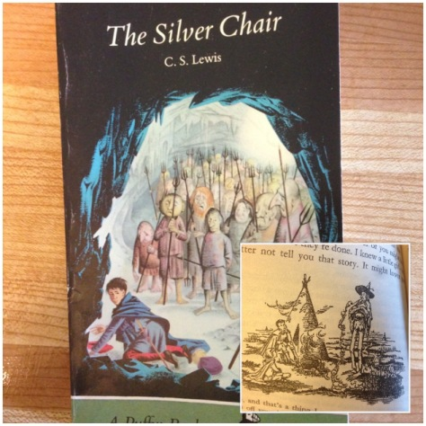My 1972 copy, which included the very delightful illustrations of Pauline Baynes, who illustrated the original books. The insert is a picture of Puddleglum, one of my favourite characters.
