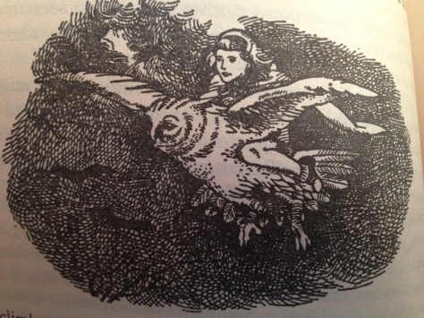 More fun - Jill and Eustace attend a Parliament of Owls, and Jill gets there by riding on Glimfeather's back. Cool....don't we all want to do that?