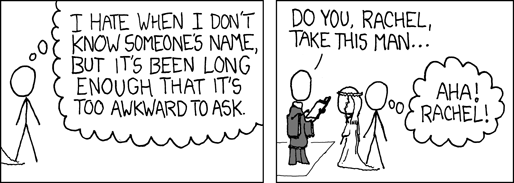 Hah! Comic courtesy of xkcd, http://imgs.xkcd.com/comics/names.png
