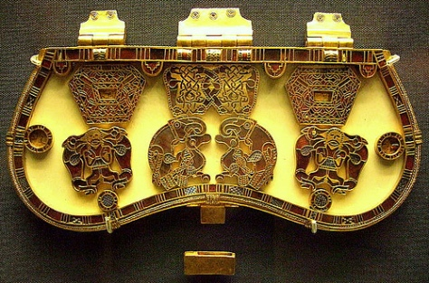 Purse lid, from the Sutton Hoo treasure. Gold and garnet. Photo: KotomiCreations, on Flickr