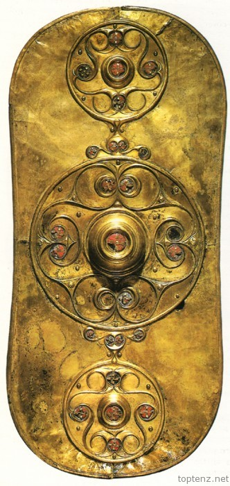 The Battersea Shield, a Celtic shield that dates from 350 AD, so a little earlier than the Dark Ages era, but you get the point. It wasn't only the Saxons who made beautiful things! This was fished out of the Thames in