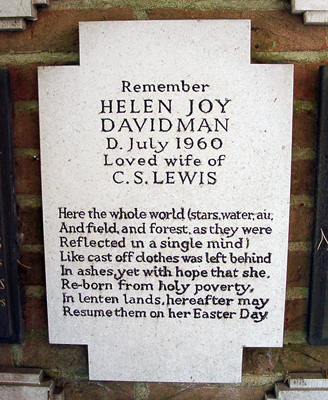 The inscription on Joy's crematorium marker was presumably written by Lewis. Photo credit: Ferrell Jenkins, https://biblicalstudies.info/cslewis/cslewis.htm