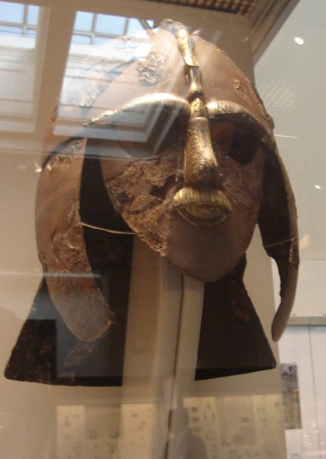 Helmet from the Sutton Hoo ship burial, early 7th century. Not the greatest picture, but this is a special one for me because it's one I actually took. Yes, I saw it in person at the British museum. Wow.