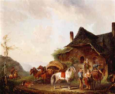 Pieter_van_Os_Horsemen_and_travellers_outside_an_inn